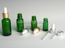 Green Glass Dropper bottles, cosmetic glass bottle with plastic dropper, essential oil bottle