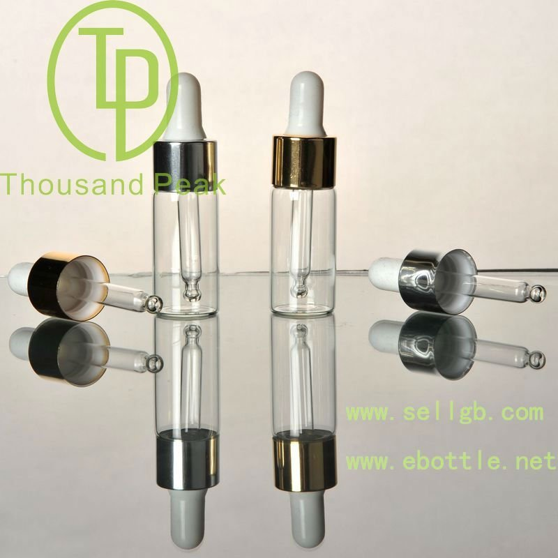 TP-2-13-3 10ml clear aluminum dropper glass vials